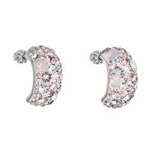 Stříbrné náušnice visací s krystaly Swarovski růžový půlkruh 31164.3 31164.3 MAGIC ROSE
