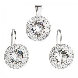 Sada šperků s krystaly Swarovski náušnice a přívěsek bílé kulaté 39107.1 39107.1 KRYSTAL