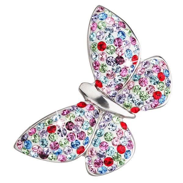 Stříbrný přívěsek s krystaly mix barev motýl 34165.3 mix barev 34165.3