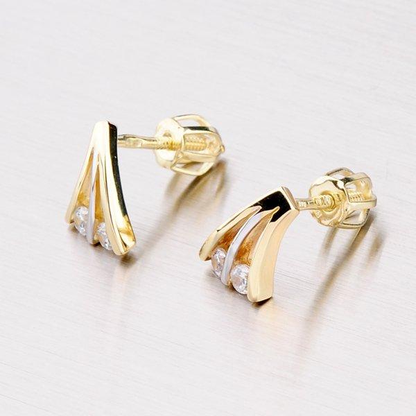 Zlaté náušnice se dvěma zirkony 42-31088