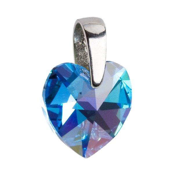 Stříbrný přívěsek s krystaly Swarovski AB efekt modré srdce 34003.4 34003.4-202AB