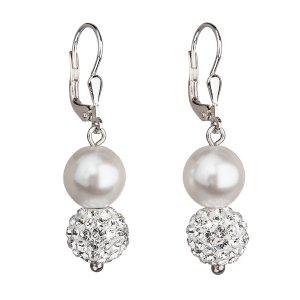 Stříbrné náušnice visací se syntetickými perlami a krystaly Swarovski bílé kulaté 31155.1 31155.1 BÍLÁ