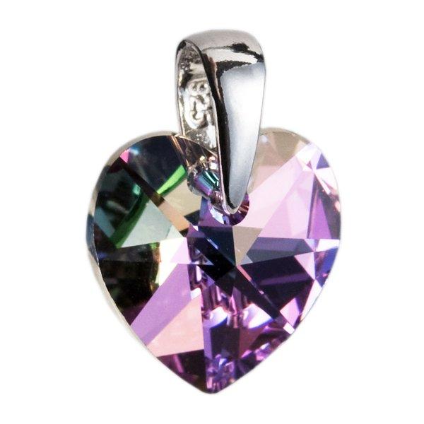 Stříbrný přívěsek s krystaly Swarovski fialové srdce 34003.5 34003.5-001VL