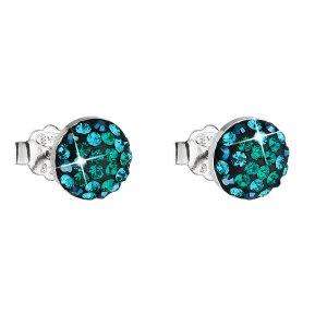 Stříbrné náušnice pecka s krystaly Swarovski zelené kulaté 31136.3 31136.6 MAGIC GREEN
