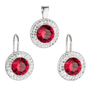 Sada šperků s krystaly Swarovski náušnice a přívěsek červené kulaté 39107.3 39107.3 RUBY