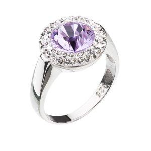 Stříbrný prsten s krystaly Swarovski fialový kulatý 35026.3 35026.3 VIOLET