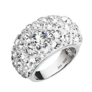 Stříbrný prsten s krystaly Swarovski bílý 35028.1 35028.1 KRYSTAL