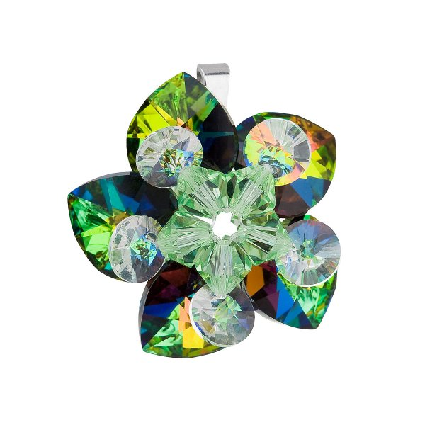 Stříbrný přívěsek s krystalem Swarovski zelená květina 34072.5 34072.5 001VM