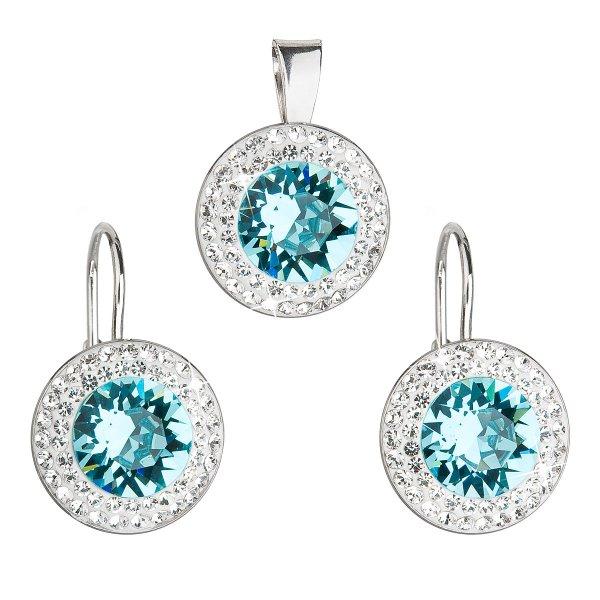Sada šperků s krystaly Swarovski náušnice a přívěsek modré kulaté 39107.3 turquoise 39107.3 LT.TURQUIOSE