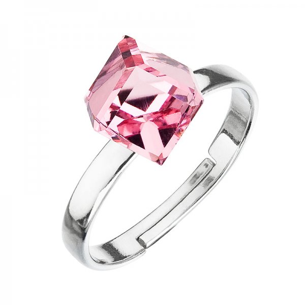 Stříbrný prsten s krystaly růžová kostička 35011.3 35011.3 LIGHT ROSE
