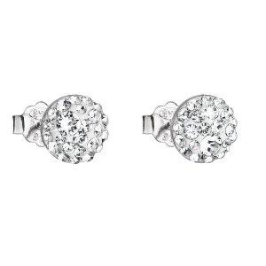 Stříbrné náušnice pecka s krystaly Swarovski bílé kulaté 31136.1 31136.1 KRYSTAL