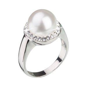 Stříbrný prsten s krystaly Swarovski a bílou perlou 35021.1 35021.1-BÍLÁ