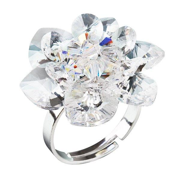 Stříbrný prsten s krystaly Swarovski bílá kytička 35012.1 35012.1-001