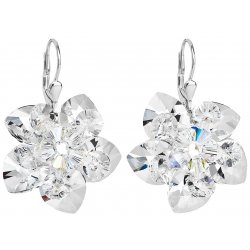 Stříbrné náušnice visací s krystaly Swarovski bílá kytička 31130.1 31130.1-001