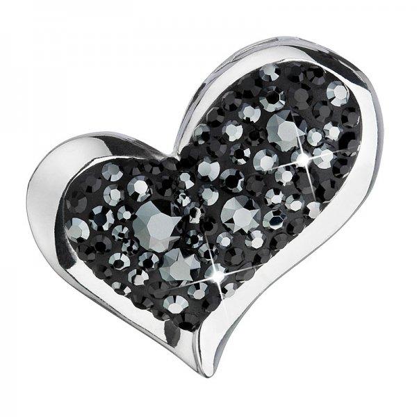 Stříbrný přívěsek s krystaly Swarovski černé srdce 34184.5 34184.5