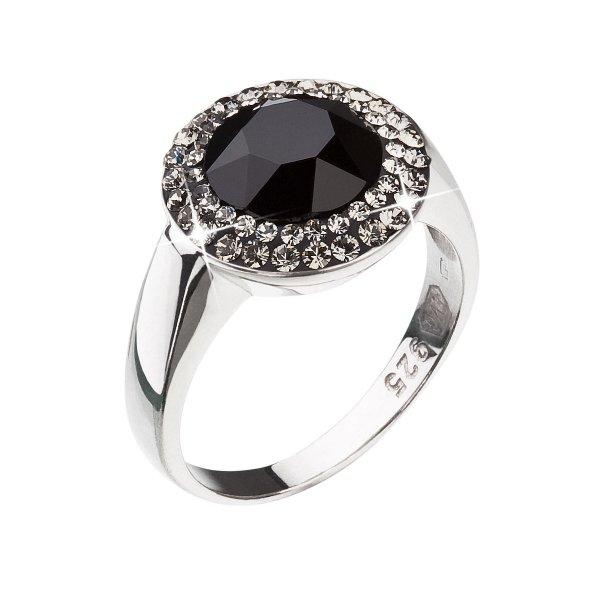 Stříbrný prsten s krystaly černý 35025.3 35025.3 JET