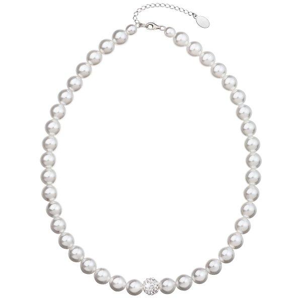Perlový náhrdelník bílý s krystaly Swarovski 32011.1 32011.1 BÍLÁ
