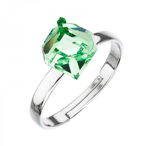 Stříbrný prsten s krystaly zelená kostička 35011.3 35011.3 PERIDOT