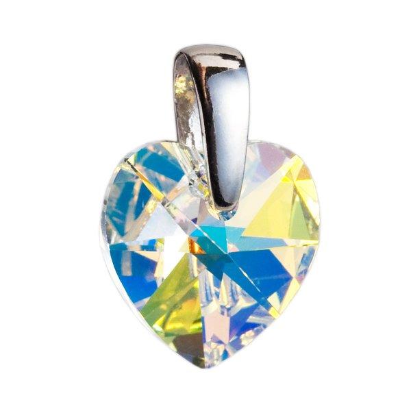 Stříbrný přívěsek s krystaly Swarovski AB efekt srdce 34003.2 34003.2-001AB
