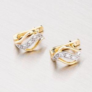Zlaté náušnice se zirkony 42-3360