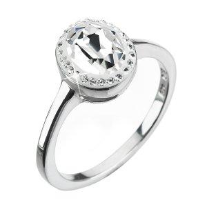 Stříbrný prsten s krystaly Swarovski bílý 35038.1 krystal 35038.1