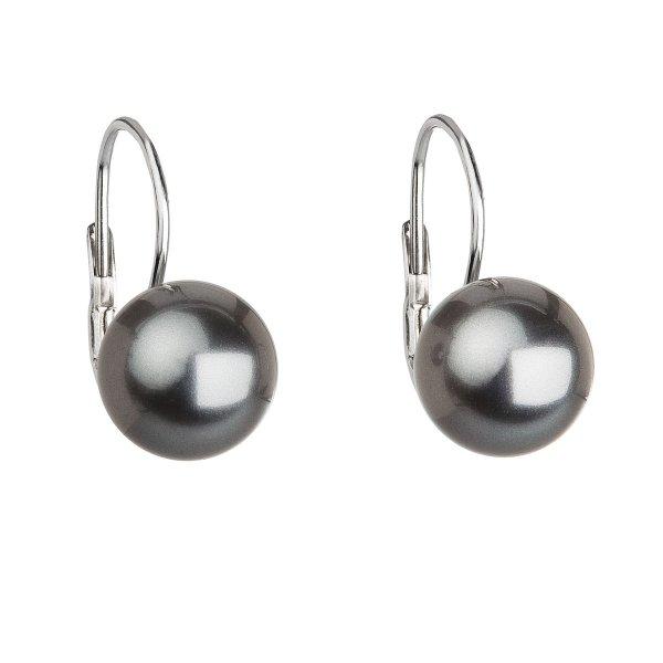 Stříbrné náušnice visací s perlou Swarovski šedé kulaté 31143.3 grey 31143.3 GREY