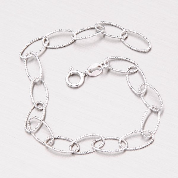 Stříbrný náramek s gravírováním ODT013-080-Rh