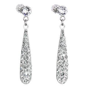 Stříbrné náušnice visací s krystaly Swarovski bílá slza 31163.1 31163.1 KRYSTAL