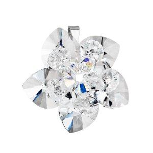 Stříbrný přívěsek s krystalem Swarovskibílá květina 34072.1 34072.1
