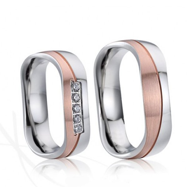Ocelové snubní prsteny s růžovým zlacením SP-7021
