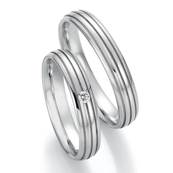 Snubní prsteny z oceli s diamantem SP-22150