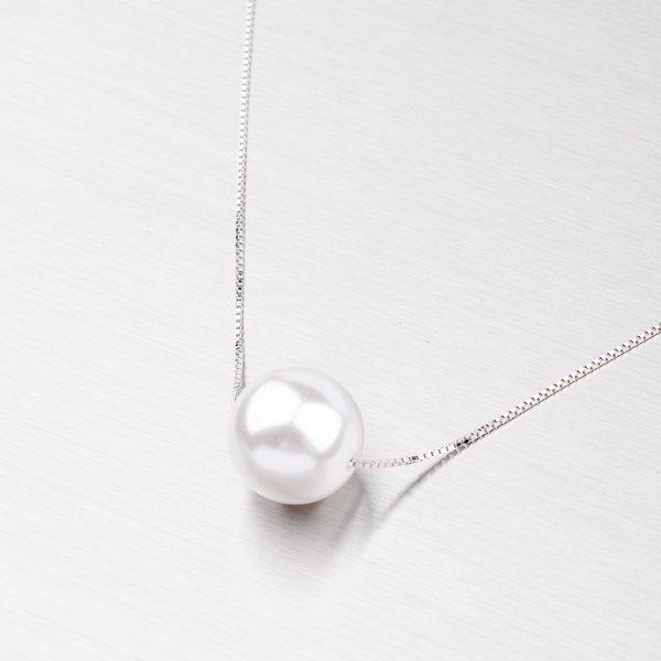 Náhrdelník s bílou perlou 12 mm YNG5012