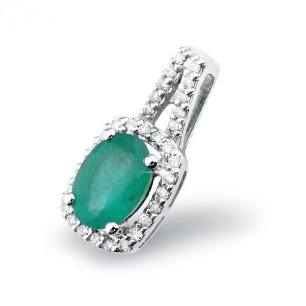 Smaragdový přívěsek z bílého zlata GKW52513