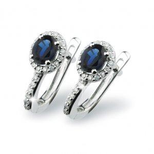 Náušnice se safírem a diamanty GKW52432