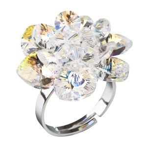 Stříbrný prsten s krystaly Swarovski AB efekt bílá kytička 35012.2 35012.2-001AB