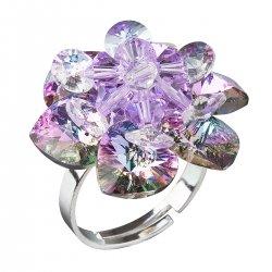 Stříbrný prsten s krystaly Swarovski fialová kytička 35012.5 35012.5-001VL
