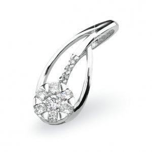 Přívěsek s diamanty - bílé zlato GKW46680