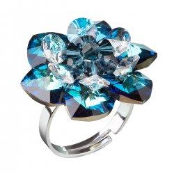 Stříbrný prsten s krystaly Swarovski modrá kytička 35012.5 35012.5-001BBL
