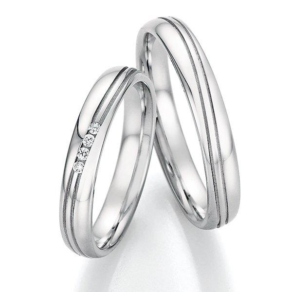 Snubní prsteny z oceli s diamanty SP-22110