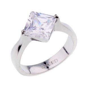 Prsten z chirurgické oceli se zirkonem 232708