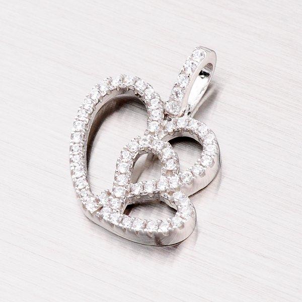 Stříbrné srdce se zirkony PXX16150008