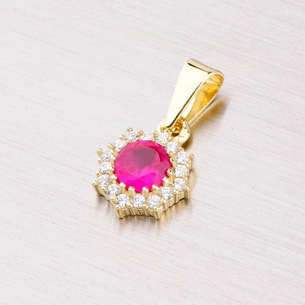 Zlatý přívěsek s červeným zirkonem 352-0086-04