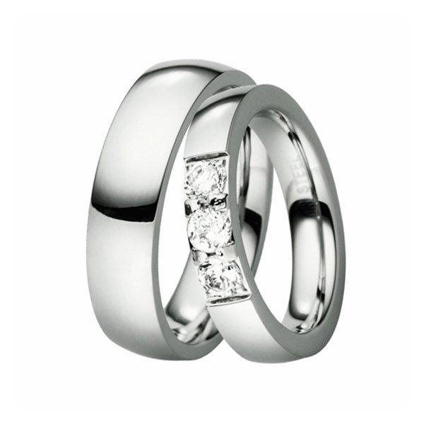 Ocelové snubní prsteny se zirkony ST-88072