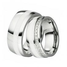 Snubní prsteny - ocel s keramikou SKW-88098