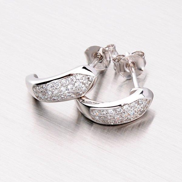 Rhodiované stříbrné náušnice se zirkony EXX07140074