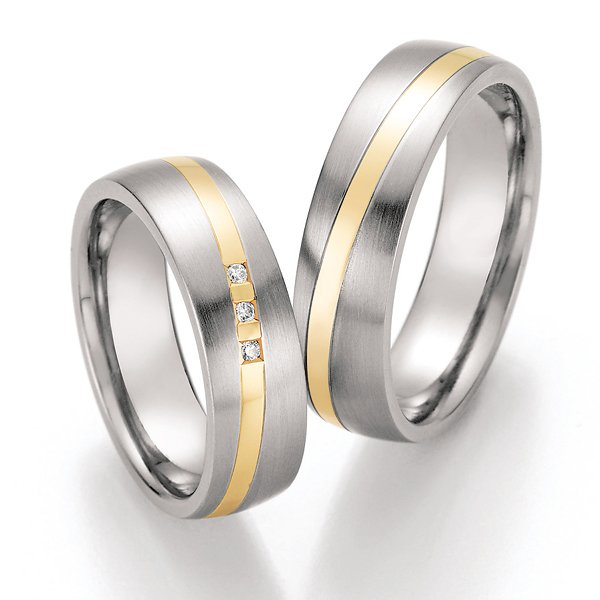 Ocelové snubní prsteny se zlatem a diamanty ST-01870