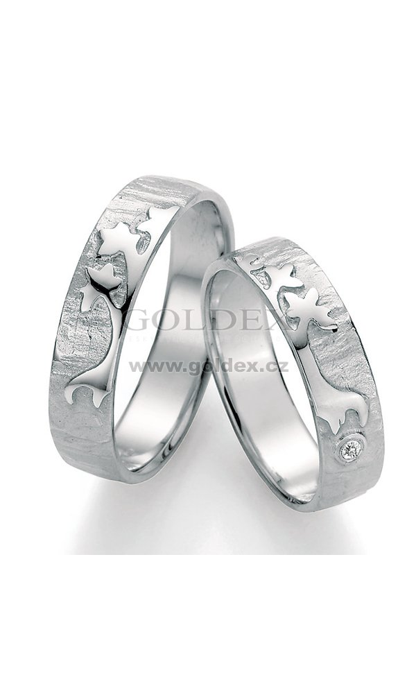 Stribrne Snubni Prsteny S Diamantem Sp 51090 Goldex Cz