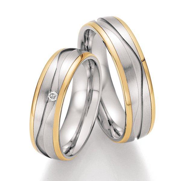 Ocelové snubní prsteny se zlatem a diamantem ST-01810