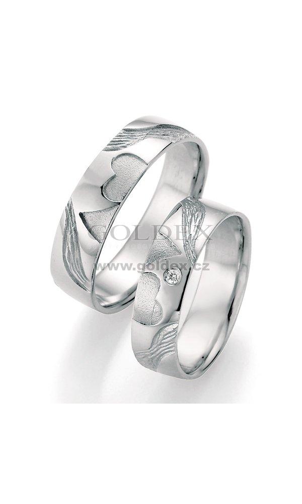 Stribrne Snubni Prsteny S Diamantem Sp 51050 Goldex Cz
