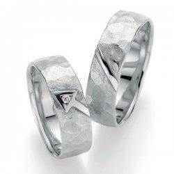Stříbrné snubní prsteny s diamantem SP-51010